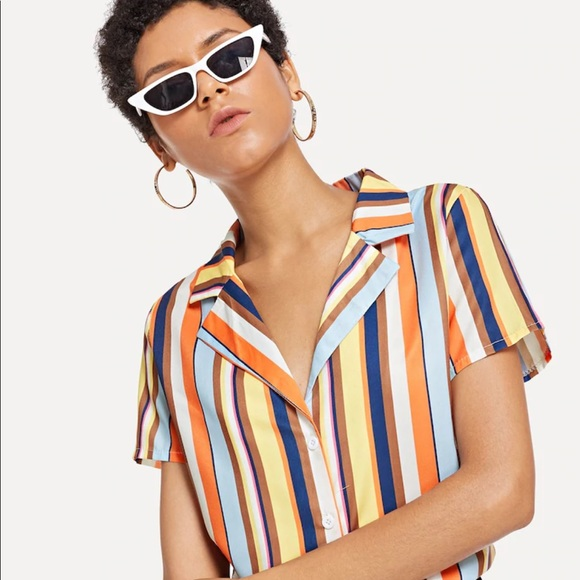 Forever 21 Tops - Retro striped blouse NWT